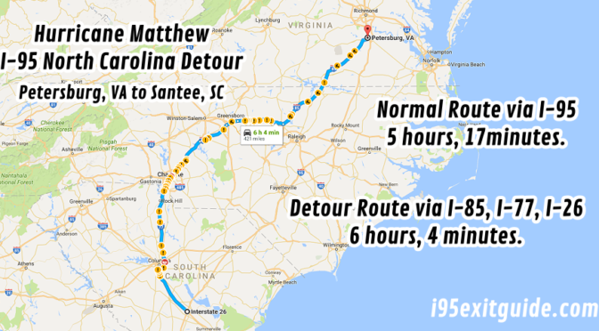 North Carolina I Closures And Alternate Routes I Exit Guide - Interstate 95 north carolina map